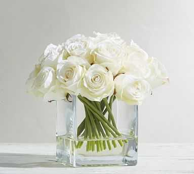 Faux Composed Roses in Square Vase - Pottery Barn