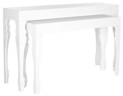 BETH FRENCH LEG LACQUER STACKING CONSOLE - Arlo Home