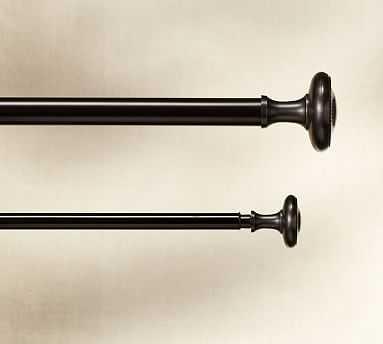 "Vintage Drape Rod & Wall Bracket, 1.25"" diam., Double XL, Oil-Rubbed Bronze Finish - Pottery Barn"
