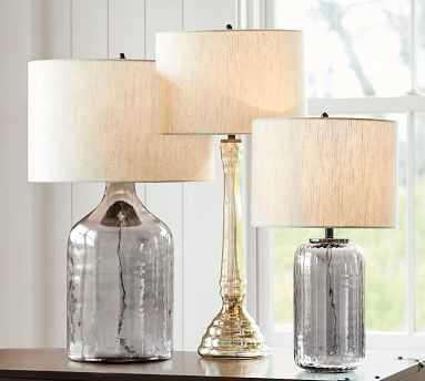 CFL Alana Glass Cylinder Table Lamp - Indigo - Pottery Barn