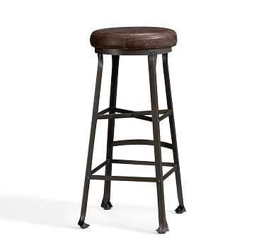 Decker Leather Counterstool, Bar Height, Chocolate - Pottery Barn