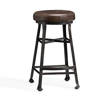 Decker Leather Barstool, Counter Height, Chocolate - Pottery Barn