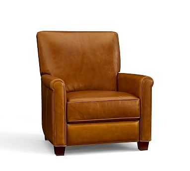 Irving Leather Recliner, Polyester Wrapped Cushions, Leather Signature Maple - Pottery Barn