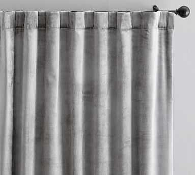 "Shiny Velvet Drape, 50x96"", Gray - Pottery Barn"
