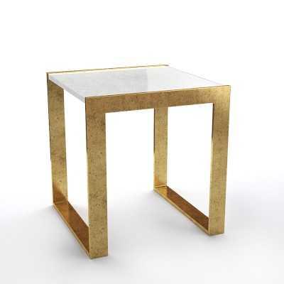 Seneca Side Table, Gold Leaf, Marble - Williams Sonoma