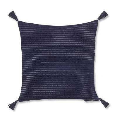 "Suede Quilted Pillow Cover with Tassels, 20"" X 20"", Navy - Williams Sonoma"