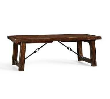 """Benchwright Extending Dining Table, 86 x 42"""" Rustic Mahogany stain - Pottery Barn"""