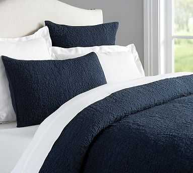 Belgian Flax Linen Floral Stitch Quilt, King/Cal. King, Midnight - Pottery Barn