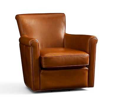 Irving Leather Swivel Armchair, Polyester Wrapped Cushions, Stetson Chestnut - Pottery Barn