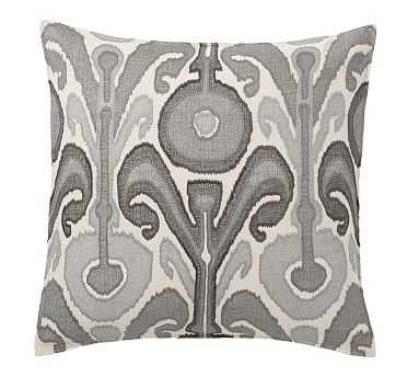 """Kenmare Ikat Embroidered Pillow Cover, 24"""", Gray - Pottery Barn"""
