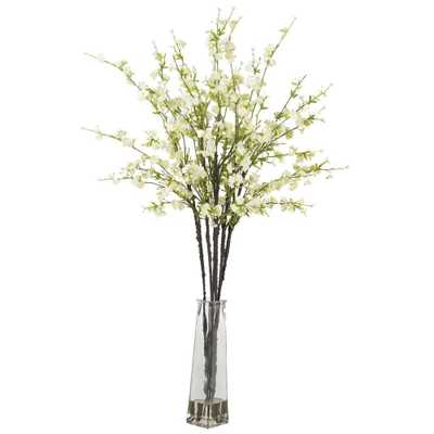 40 in. H White Cherry Blossoms with Vase Silk Flower Arrangement - Home Depot