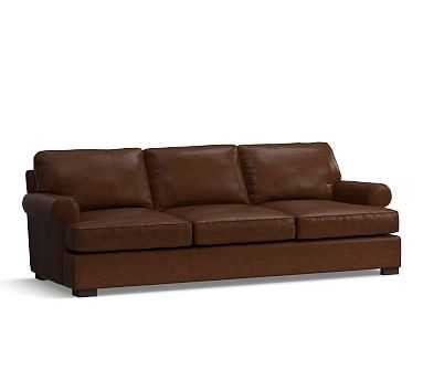 Townsend Roll Arm Leather Sofa, Polyester Wrapped Cushions, Leather Legacy Chocolate - Pottery Barn