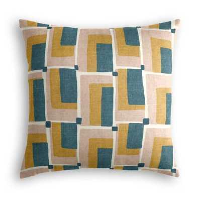 Throw Pillow  Aldo Geo - Jade - Multi, 22x22 - Down Insert - Loom Decor