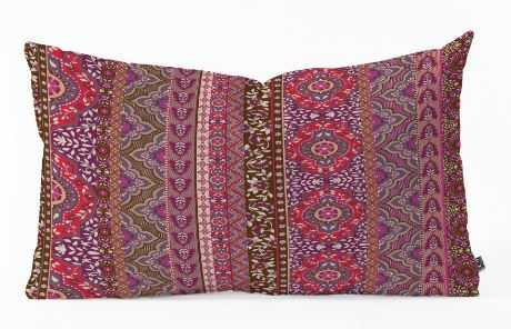Farah Stripe Red Oblong Throw Pillow - Wander Print Co.