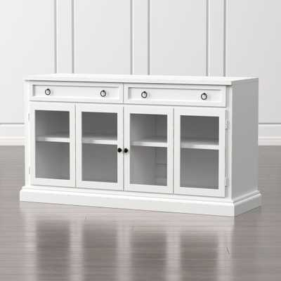 """Cameo 62"""" White Modular Media Console with Glass Doors - Crate and Barrel"""