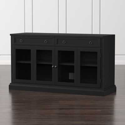 "Cameo 62"" Bruno Black Modular Media Console with Glass Doors - Crate and Barrel"