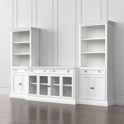 Cameo 3-Piece Modular White Glass Door Media Entertainment Center - Crate and Barrel