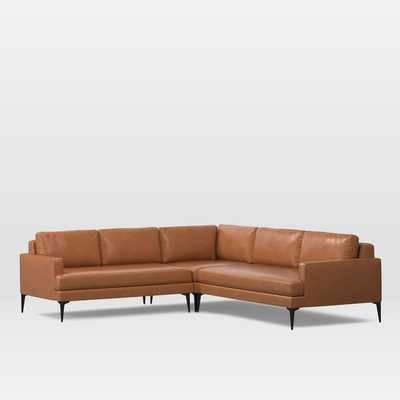 Andes Leather 3-Piece Sectional Left Arm 2.5 Seater Sofa & Corner & Right Arm 2 Seater Sofa - West Elm