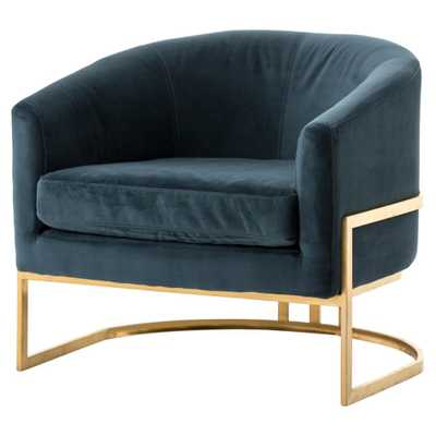 Crowley Hollywood Regency Blue Green Velvet Gold Arm Chair - Kathy Kuo Home