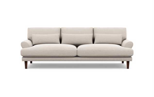 "MAXWELL BY MAXWELL RYAN MODERN ROLL ARM SOFA, 82""- Linen pebble weave, Oiled Walnut Tapered Square Wood - Interior Define"