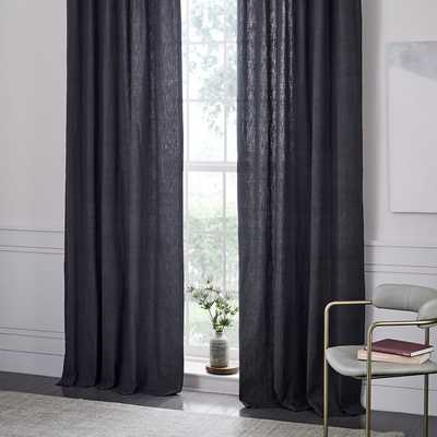 Belgian Flax Linen Curtain - Slate - 108'' - Unlined - West Elm