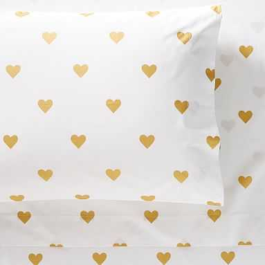 The Emily & Meritt Heart Metallic Sheet Set, Full, Ivory/Gold - Pottery Barn Teen