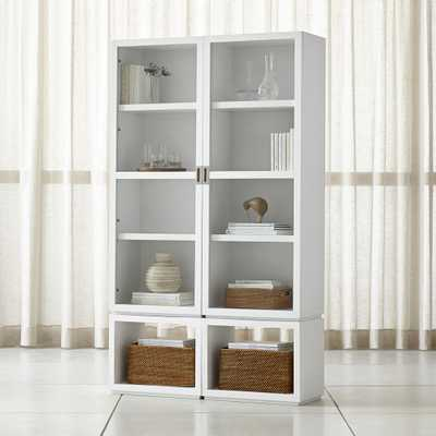 Aspect White 4-Piece Glass Door Storage Unit - Crate and Barrel
