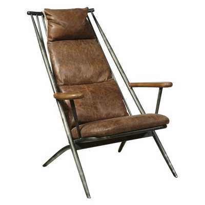 Right2Home Metal Frame Leather Accent Chair - Hayneedle