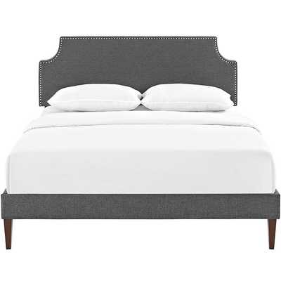 LAURA KING FABRIC PLATFORM BED WITH SQUARED TAPERED LEGS IN GRAY - Modway Furniture