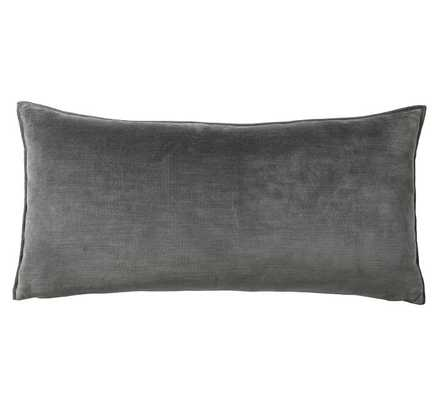 "Washed Velvet Zip Lumbar Pillow Cover, 12 x 24"", Ebony - Pottery Barn"