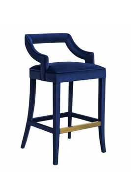 Taylor Navy Velvet Bar Stool - Maren Home