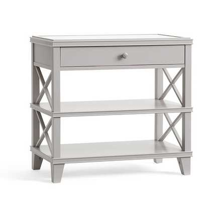 Clara Wide Bedside Table, Gray - Pottery Barn
