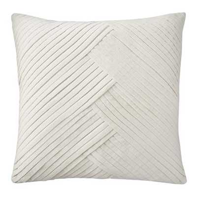 Pleated Velvet Lumbar Pillow Cover, Egret 22X22 - Williams Sonoma