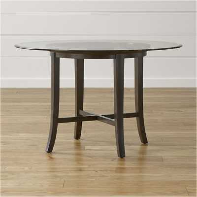 """Halo Ebony Round Dining Table with 48"""" Glass Top - Ebony - Crate and Barrel"""