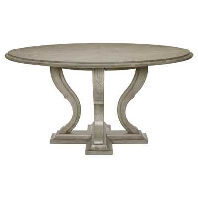 Michaela French Country White Oak Veneer Walnut Round Dining Table - Kathy Kuo Home