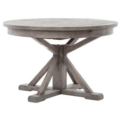 Chabert French Reclaimed Wood Extendable Round Dining Table - Small - Kathy Kuo Home