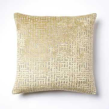 Allover Crosshatch Jacquard Velvet Pillow Cover - West Elm