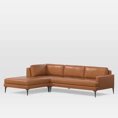 Andes Leather 3-Piece Chaise Sectional- Large - Right Arm Sofa + Ottoman + Corner - West Elm