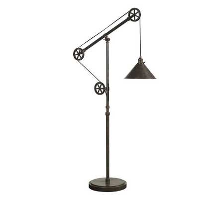 CFL WARREN PULLEY METAL TASK FLOOR LAMP, RUSTIC IRON FINISH - Pottery Barn
