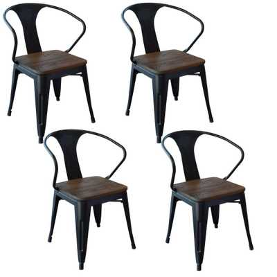 Black Metal and Wood Dining Chair (Set of 4) - Home Depot