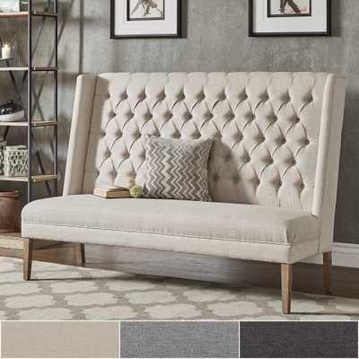 "Sawyer Straight Back Tufted Linen Upholstered Bench - 69.5"" Length - Overstock"