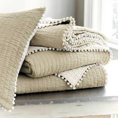 Ballard Designs Audree Pom Pom Quilt Natural King - Ballard Designs