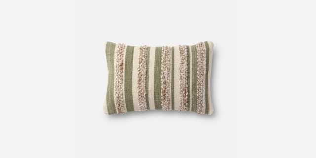 "P1022 MH SAGE / IVORY Pillow - Poly Insert - 13"" x 21"" - Loma Threads"