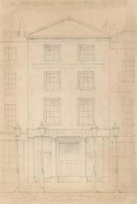 ORIGINAL PENCIL SKETCH OF THE ADELPHI THEATRE, LONDON, BY THOMAS H SHEPHERD - art.com