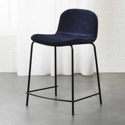 "Primitivo Blue Velvet 24"" Counter Stool - CB2"
