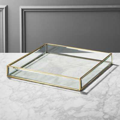 Large Glass and Brass Tray - CB2