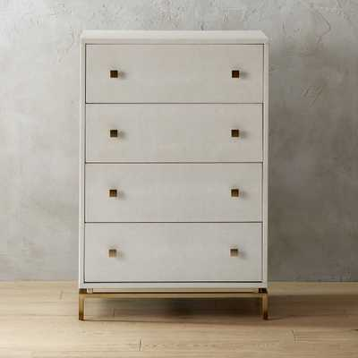 Ivory Shagreen Embossed Tall Chest - CB2