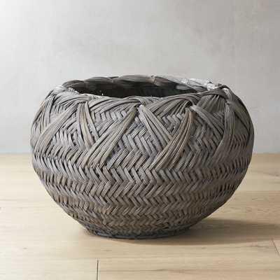 Penny Grey Rattan Basket - CB2