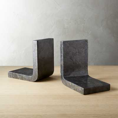 Swoop Black Marble Bookends - CB2