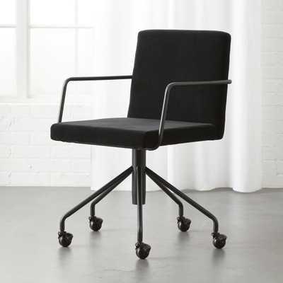 Rouka Black Velvet Office Chair - CB2